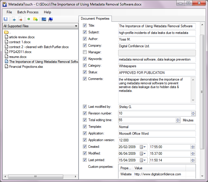 Screenshot of MetadataTouch, used to edit Microsoft Word document metadata