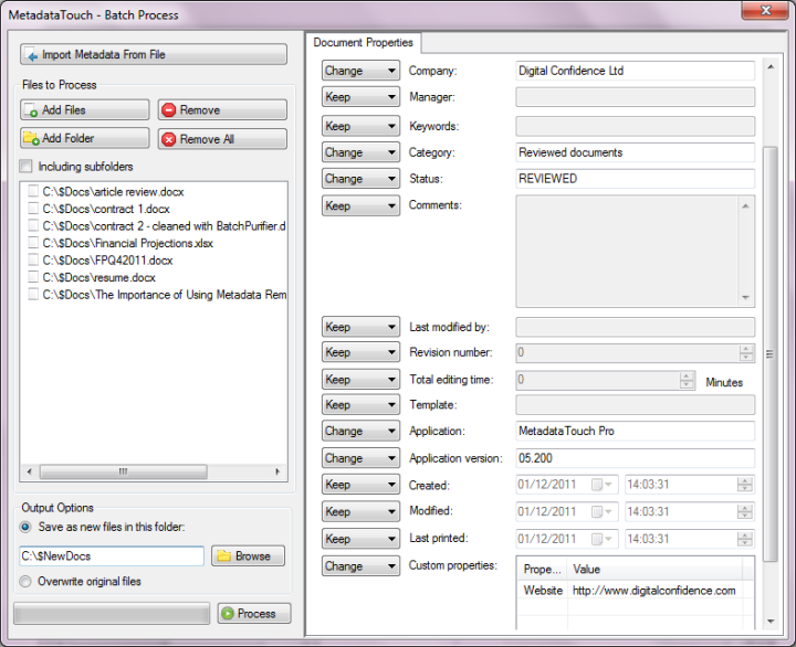 Screenshot of MetadataTouch Pro, used for batch editing metadata in Microsoft Word documents